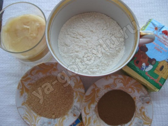 необходимые продукты для медового печенья