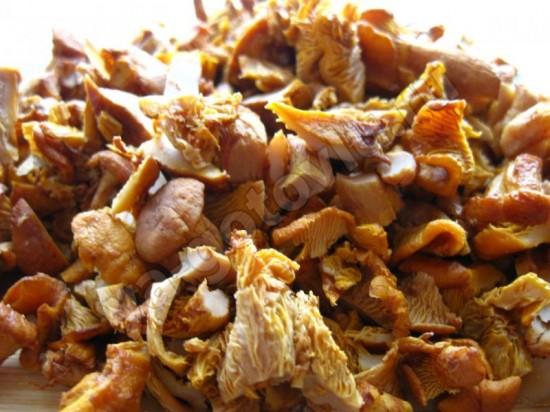 Нарезанные грибы для соуса