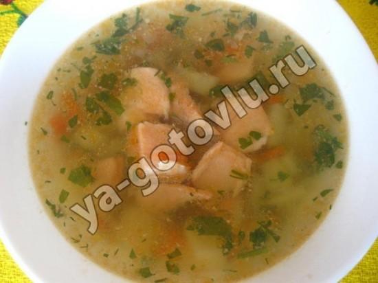 Готовый рыбный суп из семги