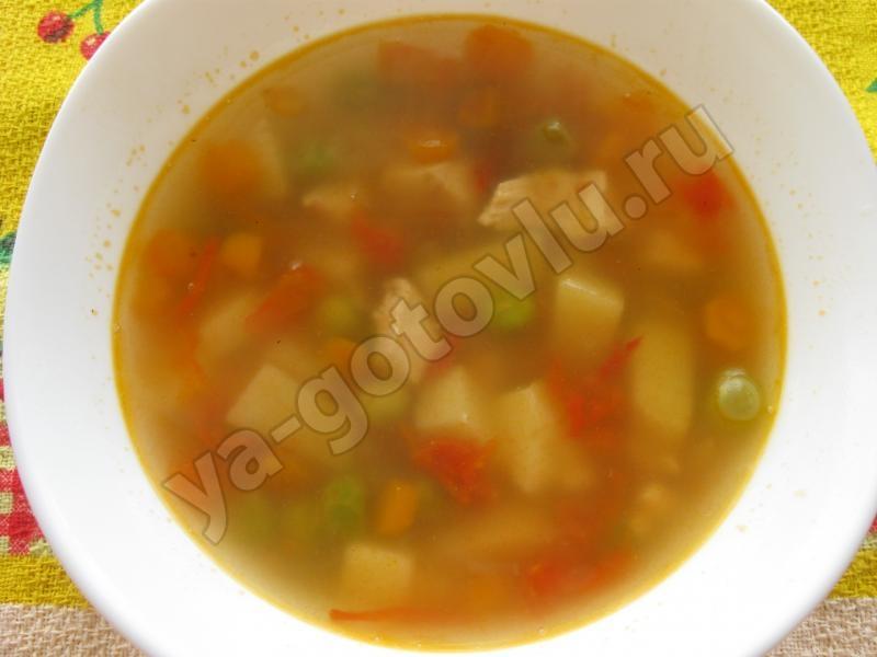 Летний суп с молодым зеленым горошком