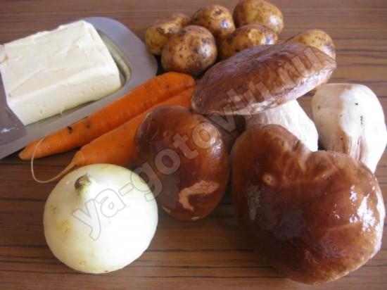 Ингредиенты для супа из свежих белых грибов