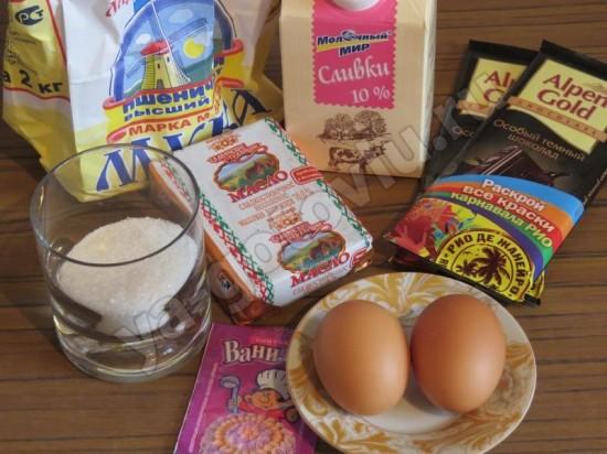 Ингредиенты для тарта с шоколадом