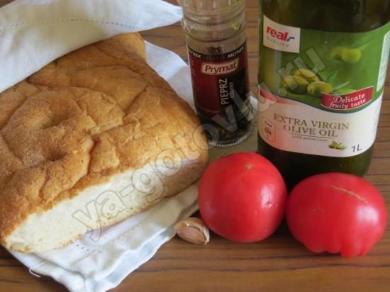 Ингридиенты для брускетты с томатами